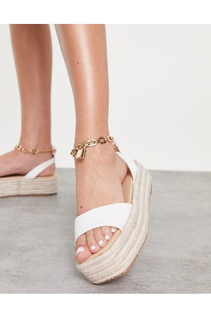 Public Desire Dubai flatform espadrille sandals with padlock detail in white