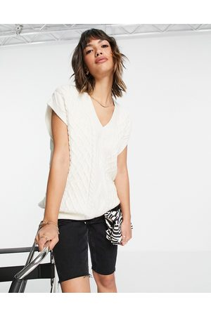 & OTHER STORIES Women Tank Tops - & knitted sleeveless top in off-white
