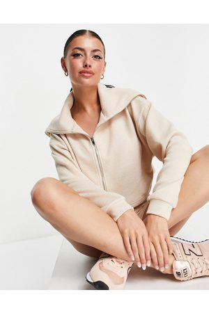 ASOS Textured rib short with zip-through shawl collar tracksuit top in oatmeal-Neutral