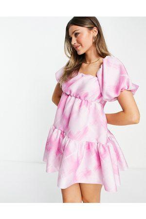 ASOS Women Asymmetrical Dresses - Asymmetric ruched smock mini dress in pink oversized check-Multi