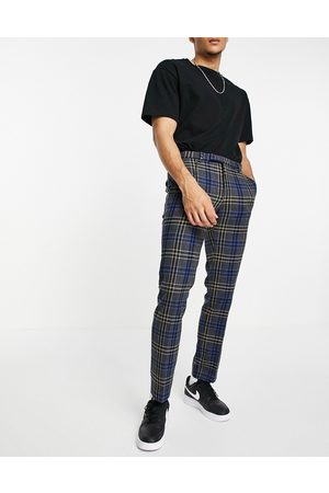 Twisted Tailor Pants in multi check-Blue