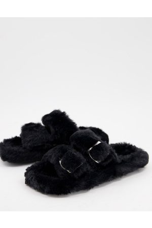 SIMMI Shoes Simmi London Lotus fluffy buckle slippers in black