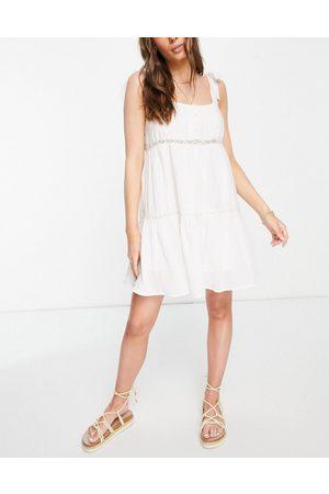 ASOS Women Summer Dresses - Tie shoulder lace insert smock mini sundress in white