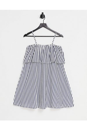 ASOS Square neck sundress with overlayer frill in navy and white stripe