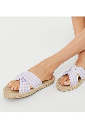 ASOS Wide Fit Jolly knotted mule espadrilles in lilac gingham-Purple
