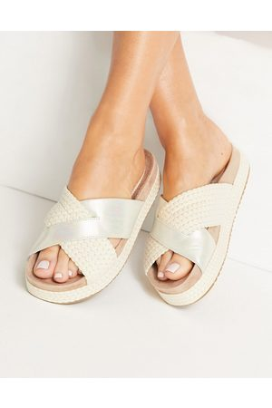 TOMS Paloma leather and rope crossover flat sandals in silver
