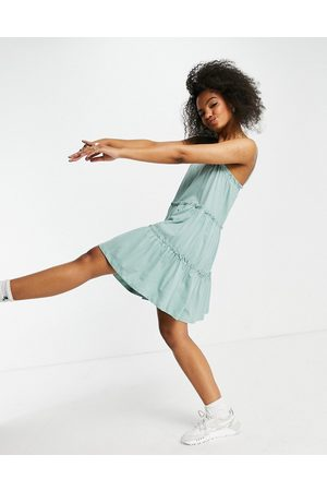 ASOS Women Summer Dresses - Strappy sundress with tiered frill detail in sage-Green