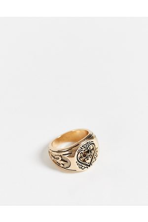 ASOS Signet ring with ace design in gold tone