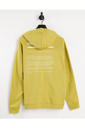 ASOS ASOS Unrvlld Spply co-ord oversized hoodie with logo print in antique gold-Yellow