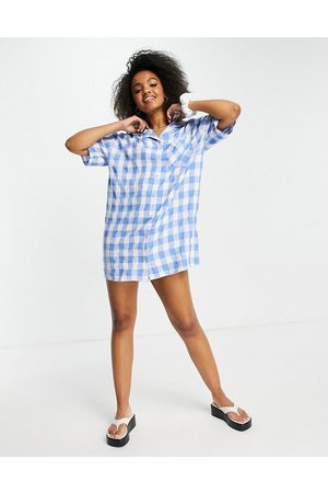 Lola May Casual Dresses - Revere collar shirt dress in blue gingham