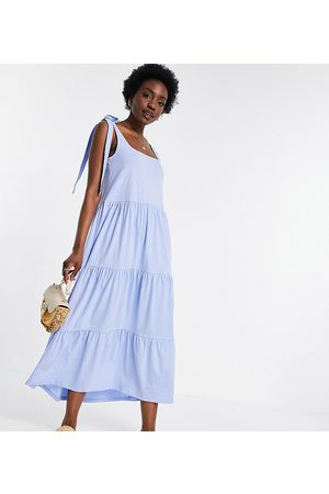 ASOS Women Maxi Dresses - Tall square-neck tie shoulder tiered maxi dress in chambray blue