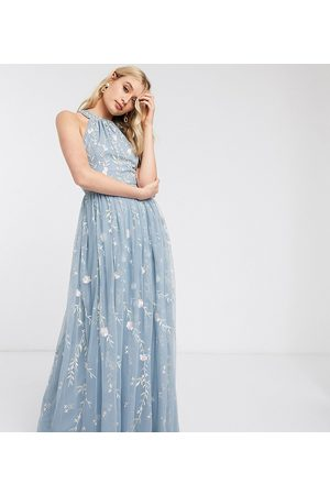 ASOS ASOS DESIGN Tall halterneck pretty embroidered floral and sequin mesh maxi dress-Multi