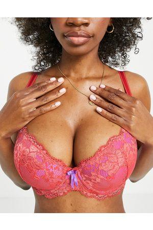 Pour Moi Women Balconette - Fuller Bust Amour padded lace balconette bra in orange and violet