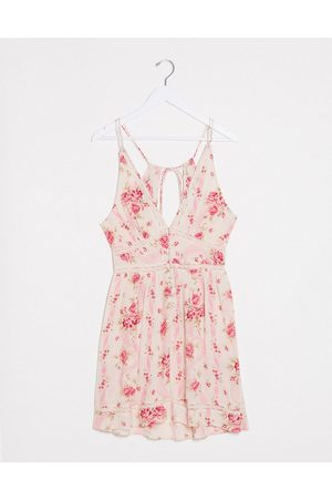 ASOS Tiered mini sundress with lace inserts in wallpaper floral print-Multi