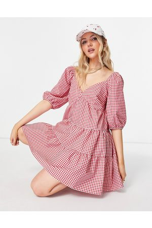 ASOS Mini Dresses - Tiered babydoll mini smock dress in red and white gingham-Multi