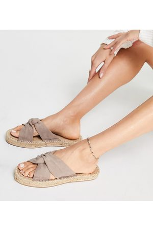 ASOS Espadrilles - Wide Fit Jolly knotted mule espadrilles in beige-Neutral
