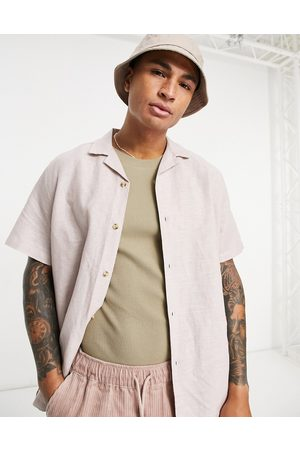 ASOS Shirts - Relaxed fit linen shirt with revere collar in pink