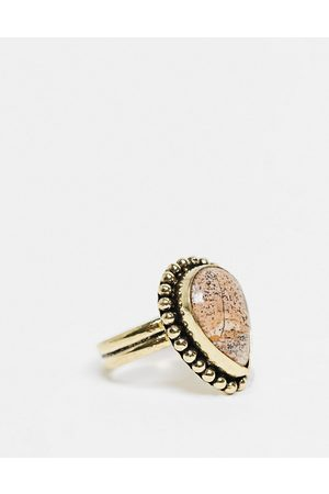 ASOS Ring with picture jasper semi precious stone in burnished gold tone