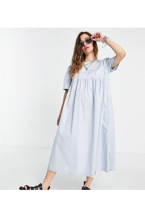 COLLUSION Tie back midi smock dress in blue-White