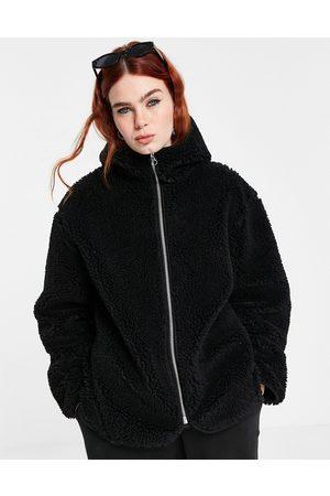 Weekday Fleece Jackets - Peg fleece hooded jacket in black