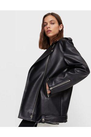 Stradivarius Leather Jackets - Oversized faux leather jacket in black