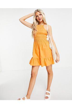 Influence Women Beach Dresses - Shirred beach dress in orange