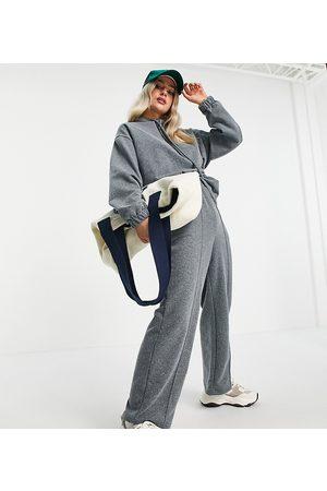 ASOS Hoodies - ASOS DESIGN Petite acid wash tracksuit hoodie and straight leg trackies in charcoal-Grey
