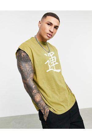 ASOS Tank Tops - Oversized singlet in washed khaki with text print-Green