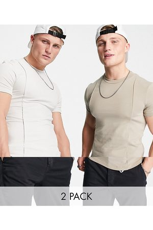 ASOS Outfit Sets - 2 pack co-ord muscle fit t-shirts with pintucks in beige-Multi