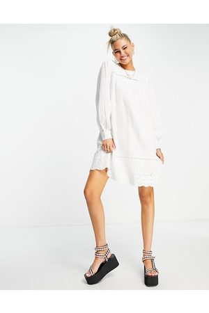 Object Women Mini Dresses - Mini smock dress with lace detail in white