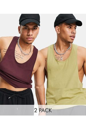 ASOS 2 pack organic singlet with extreme racer back-Multi