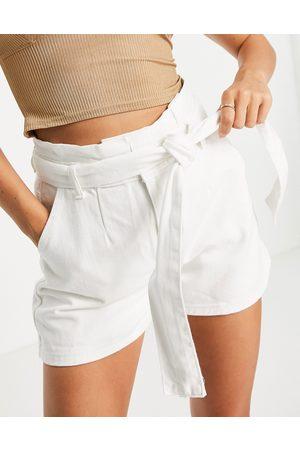 In The Style Men Neckties - X Stacey Solomon tie detail high waist denim shorts in white