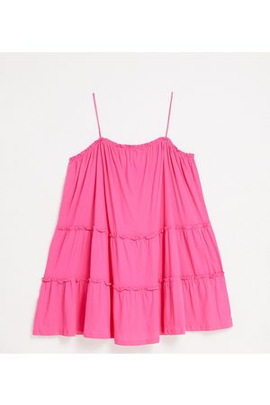 ASOS Curve strappy sundress with tiered frill detail in hot pink