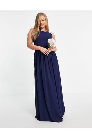 TFNC Women Maxi Dresses - Bridesmaid high neck pleated maxi dress in navy