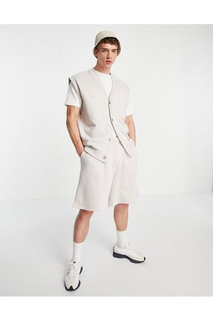 ASOS Co-ord oversized sleeveless sweatshirt in oatmeal marle-Neutral
