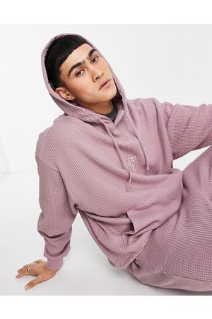 ASOS Outfit Sets - Co-ord oversized jumbo waffle hoodie with embroidery in lilac-Pink