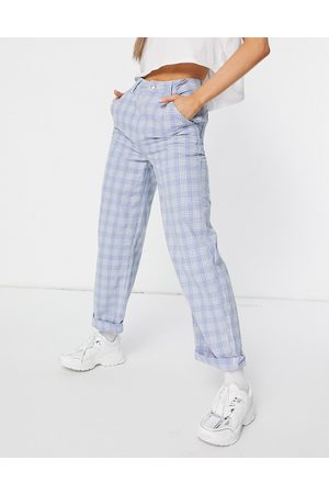 ASOS Slouchy chino pants in light blue check