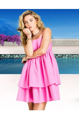ASOS Bandeau double layer tie back mini sundress with detachable straps in hot pink