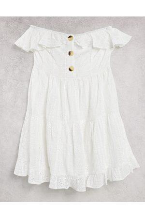 ASOS Women Summer Dresses - Bandeau mini sundress with pephem in broderie in white