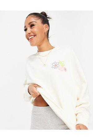 adidas No-dye sweatshirt with floral design in cream-White