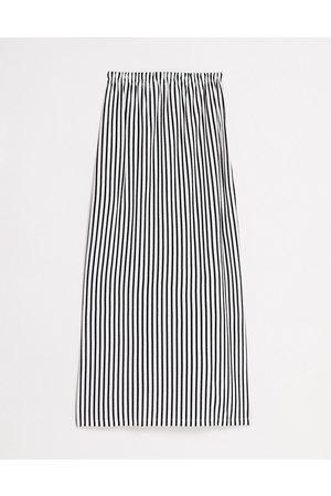 ASOS Bandeau maxi sundress with pockets in mono stripe-Black