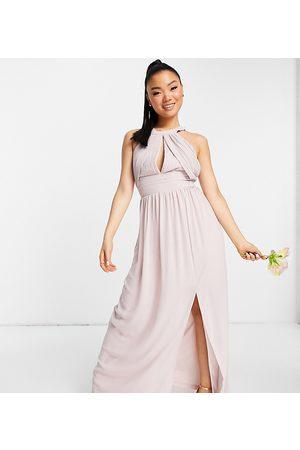 TFNC Bridesmaid pleated maxi dress in mink-Pink