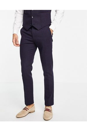 ASOS Formal Pants - Wedding super skinny wool-mix suit pants with navy grid check