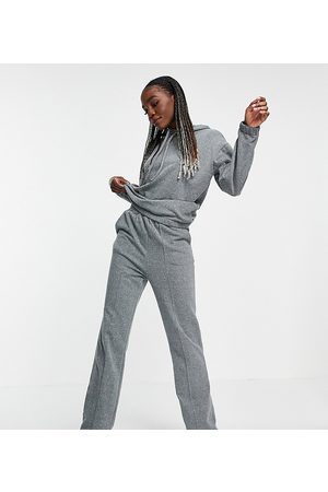 ASOS Hoodies - ASOS DESIGN Tall tracksuit with hoodie and straight leg trackies in charcoal-Grey