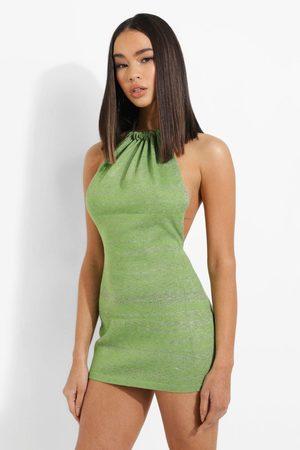Boohoo Space Dye Halterneck Knitted Dress