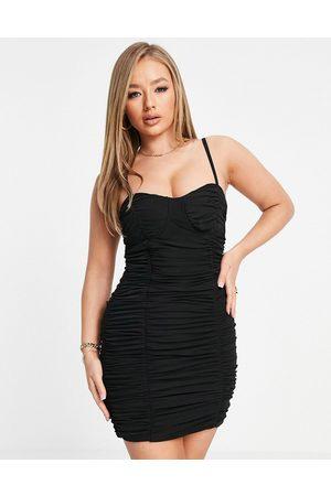 Club L Women Mini Dresses - Ruched corset detail cami strap mini dress in black