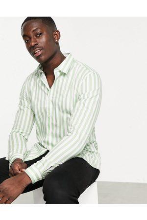 Devils Advocate Men Business - Striped slim fit shirt-Green