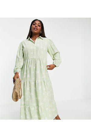 ASOS Printed Dresses - ASOS DESIGN Curve maxi shirt dress with pintucks in gingham print-Multi