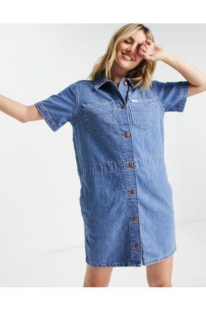 Wrangler Women Casual Dresses - Short-sleeved denim shirt dress in blue