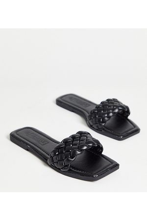 Truffle Collection Women Thongs - Wide-fit square-toe flat slides in black